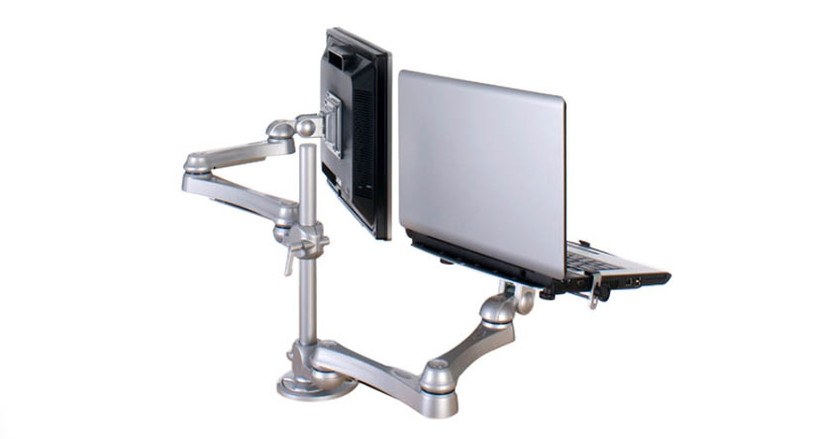 Pole mount with two arms capable of supporting one laptop computer and one monitor