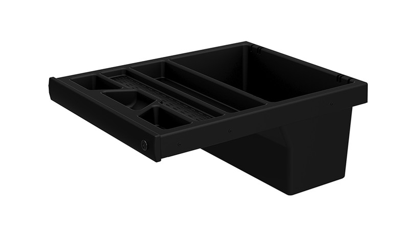 Fully concealable sliding and locking drawer with segmented trays
