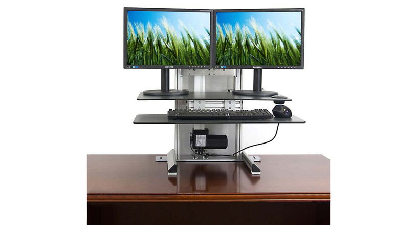 Upper worksurface has space for 2 monitors with stands