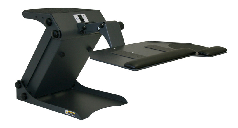 System fits on top of desk for an instant sit-to-stand workstation