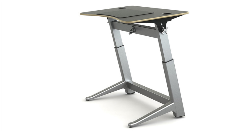 Desk is designed by Martin Keen and constructed of aluminum, steel, and furniture-grade plywood and polymers