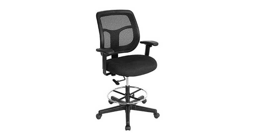 The Raynor Apollo DFT9800 Drafting Chair's padded waterfall seat diminishes pressure to your thighs