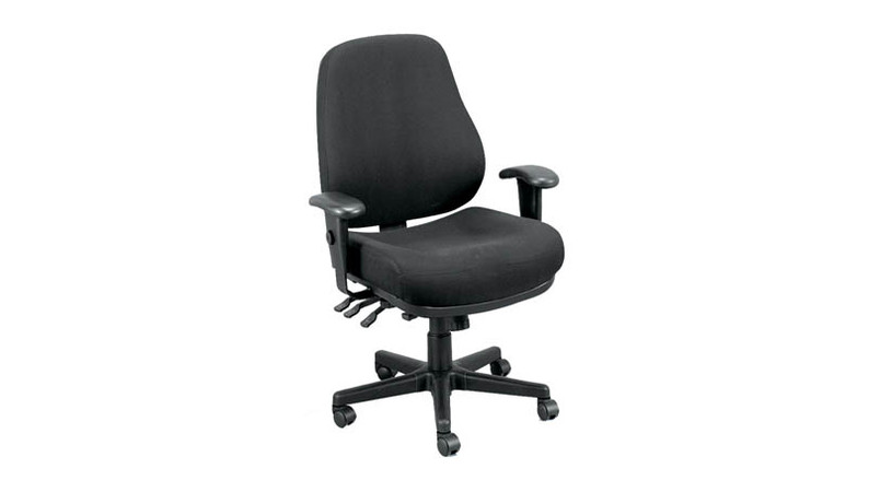 Height adjustments are done pneumatically on the Raynor Eurotech 24/7 Ergonomic Intensive Use Chair