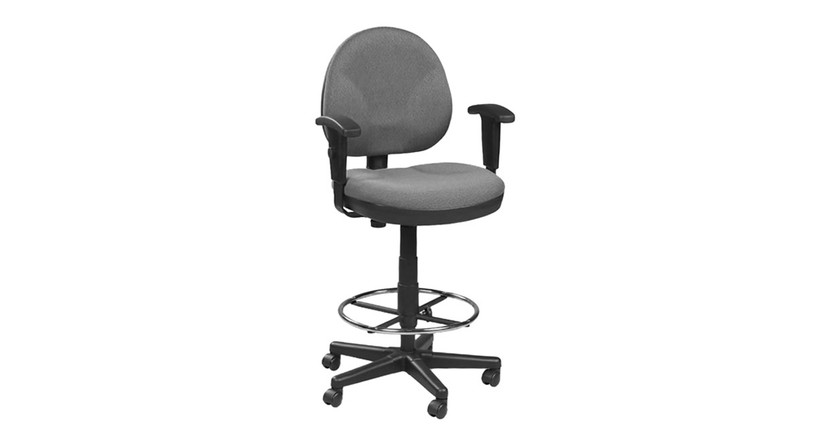 Waterfall seat on the Eurotech Drafting Stool with Footring OSS400 alleviates pressure behind the knees to allow for better blood flow