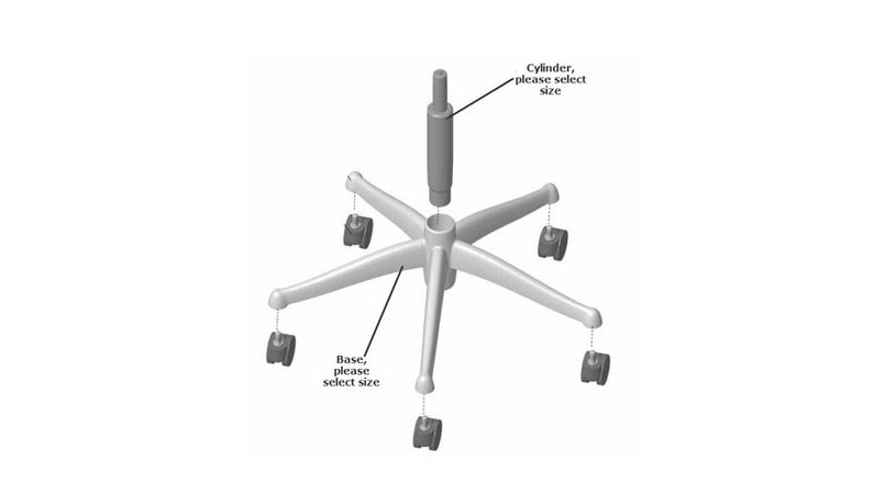 Replace the base, cylinder, or footring in a snap on your Freedom Chair