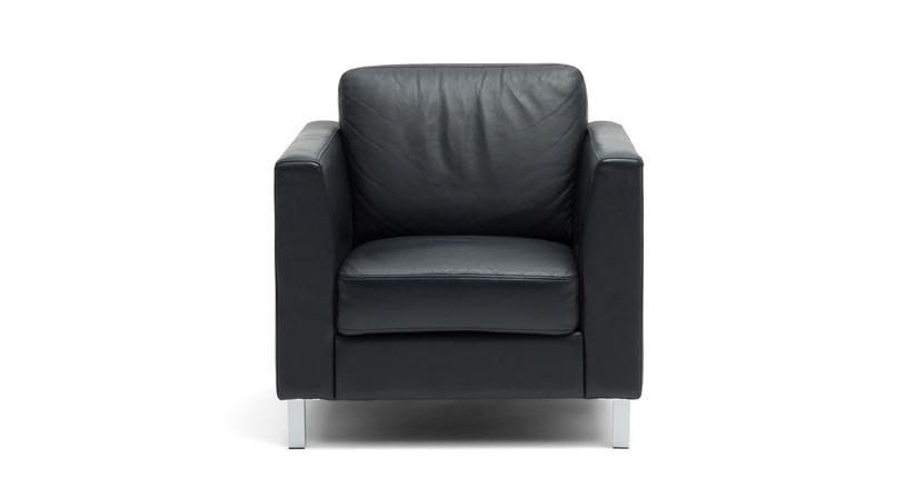 Upholstered with leather on the seat and back and simulated leather on the balance