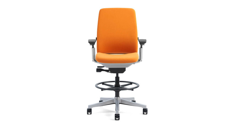 The Steelcase Amia Drafting Chair's LiveLumbar technology supports the lower back by flexing with your movements