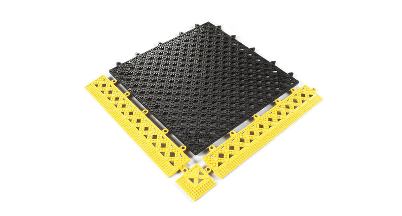 Modular crosshatch vinyl tiles easily snap together