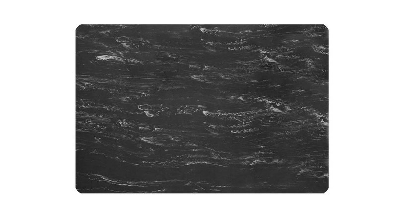 Attractive marble tile finish is constructed of smooth, easy to clean vinyl