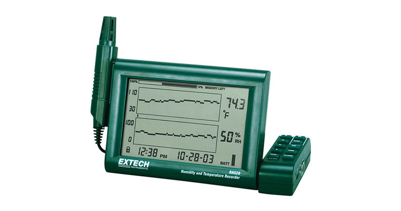 Simultaneous numerical and graphical display of humidity and temperature readings, plus time, and date