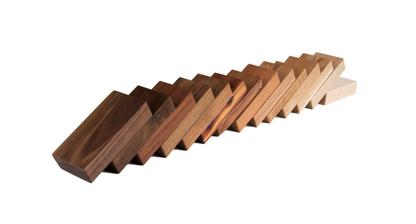 Sample of each wood included in kit: Cedar, Mesquite, Ash (dark-stained and natural), Cherry, Maple, Walnut, Pecan (natural and dark-stained), White Oak, Sipo Mahogany, and Bamboo. Samples are the same thickness as our actual desktops