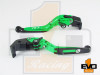 Kawasaki ZX6R / 636 Brake & Clutch Fold & Extend Levers- Green