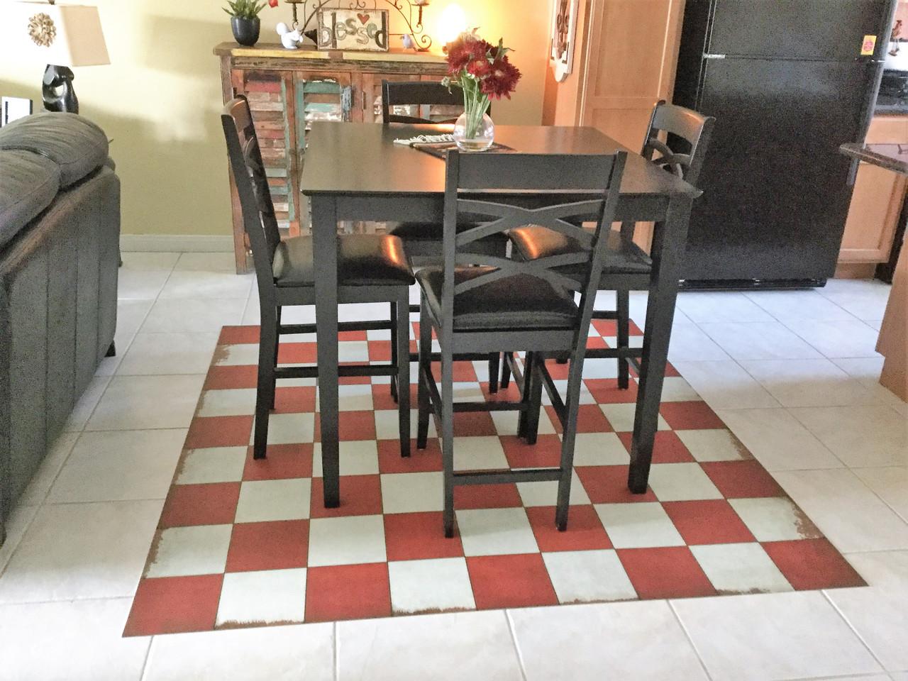 Pura Vida customer use of checked out vinyl floor cloth