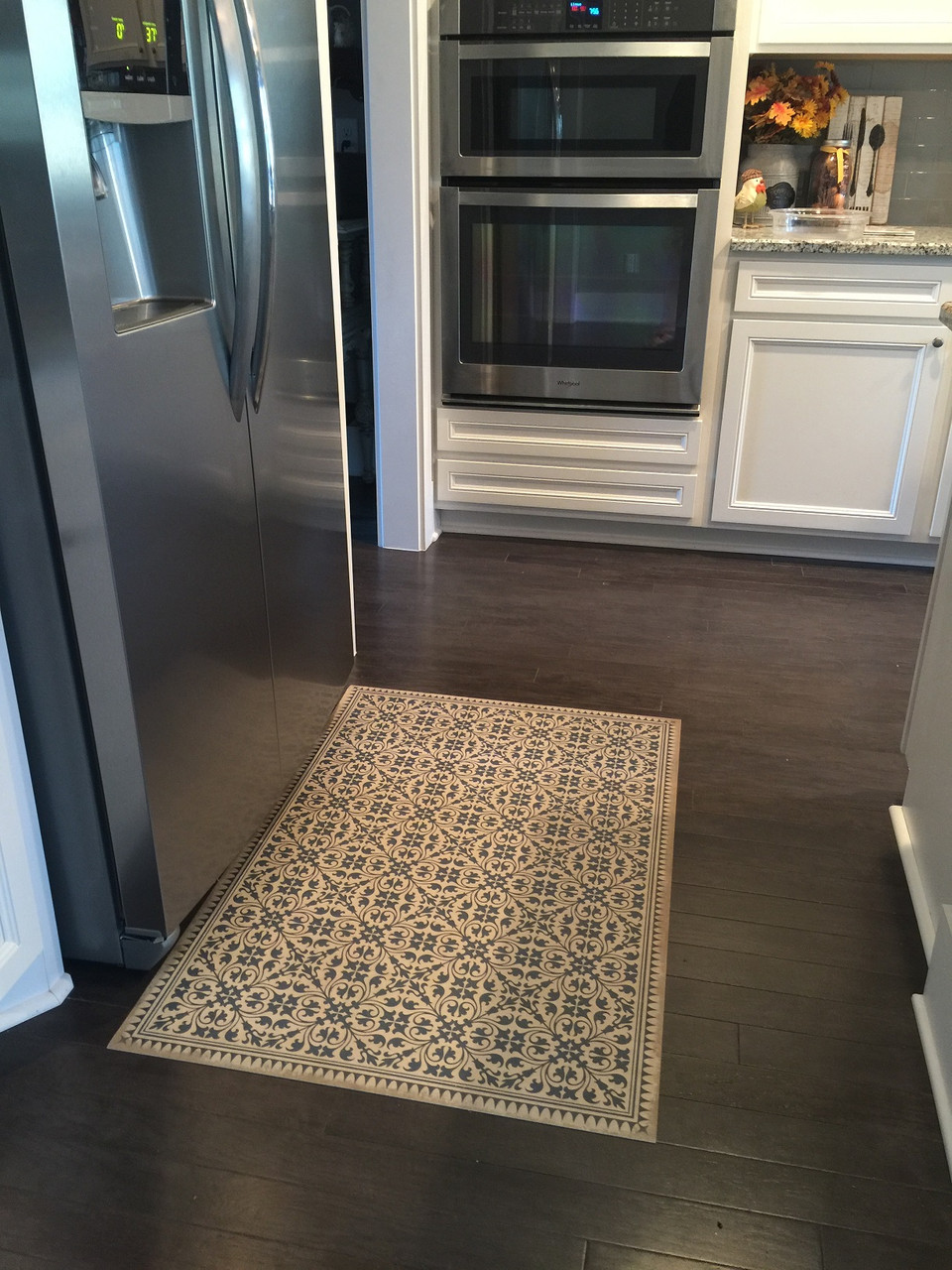 Pura Vida customer use of Mad Hatter Tea Party vinyl floor cloth