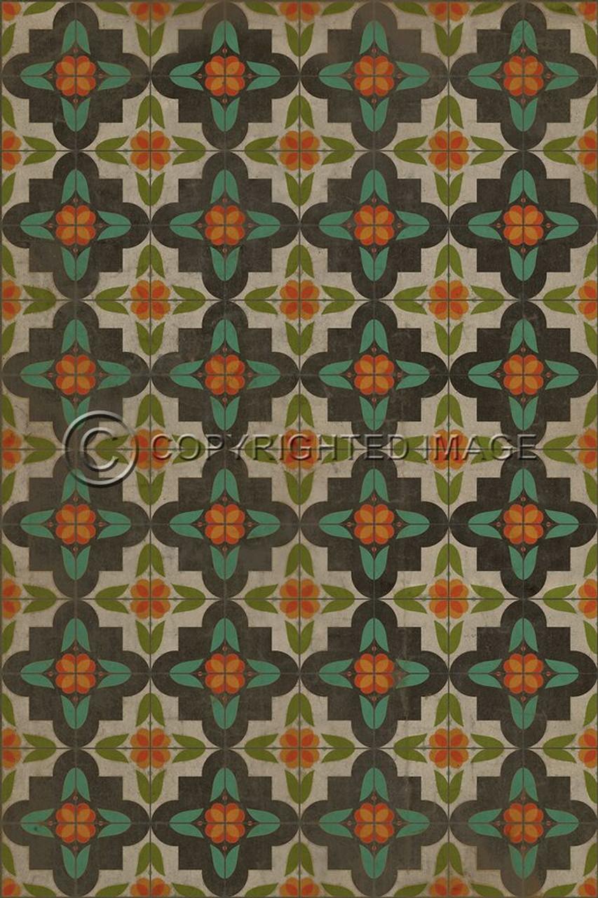 Pattern 33 Annas Garden vinyl floor cloth