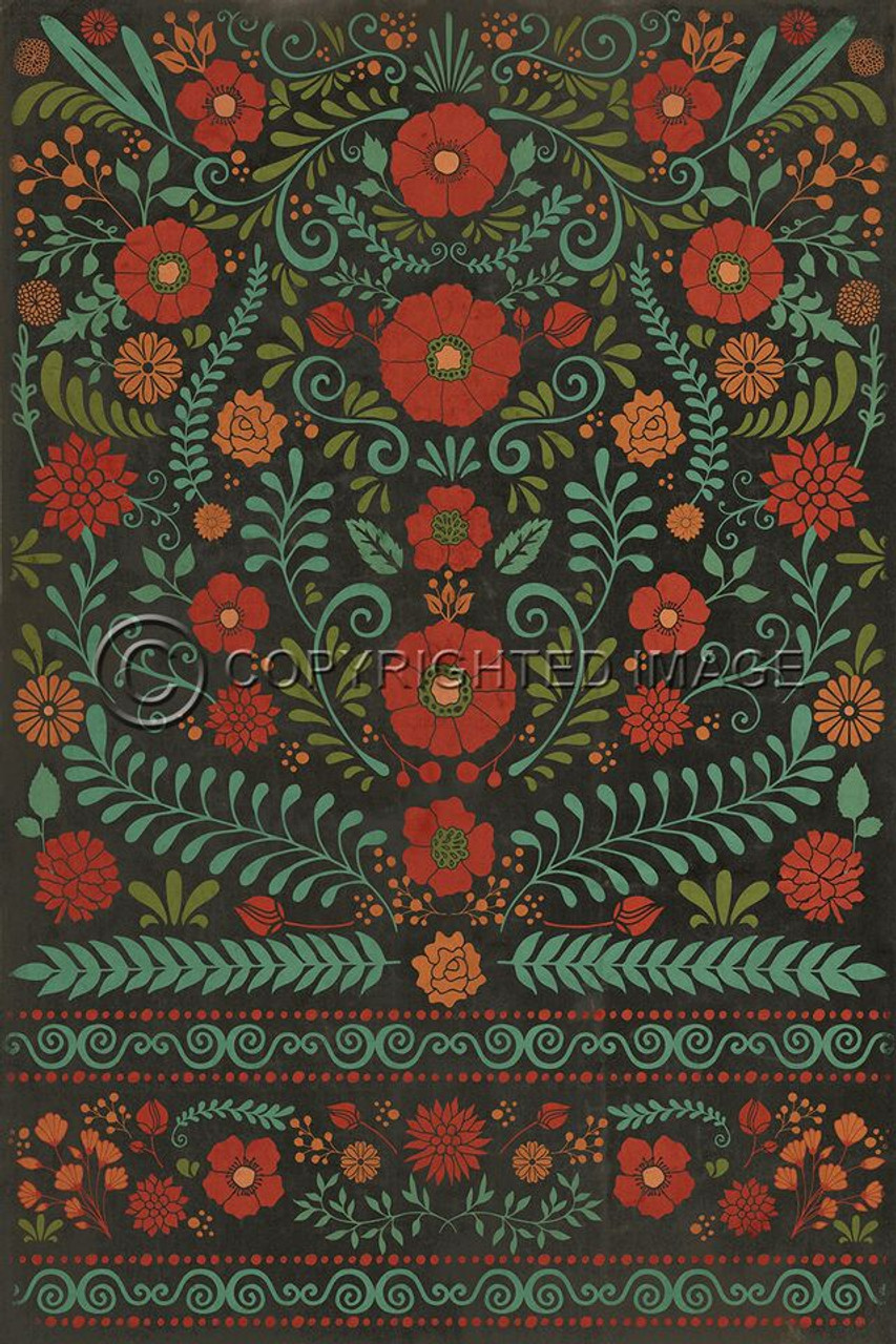 Pattern 36 A Garden to walk In vinyl floor cloth