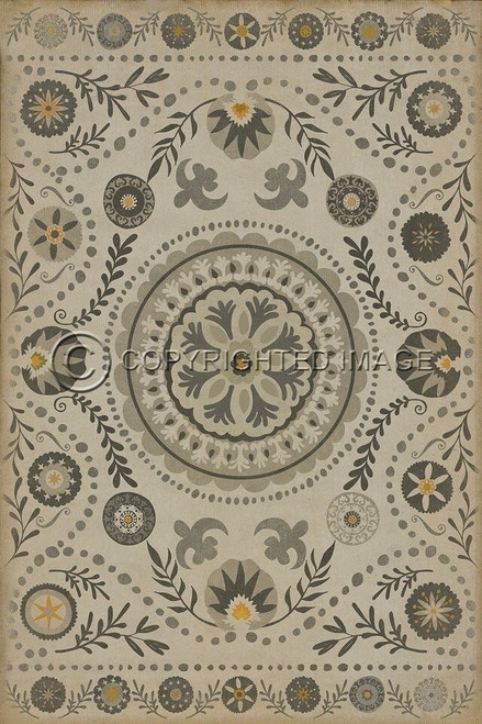 Pattern 38 Je Pense vinyl floor cloth