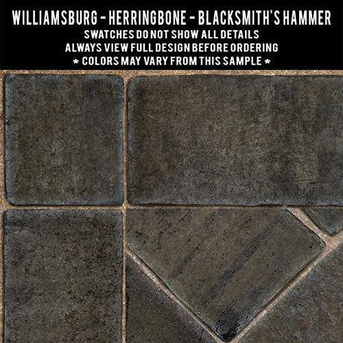 Herringbone Brick: Blacksmiths Hammer - vinyl floor cloth