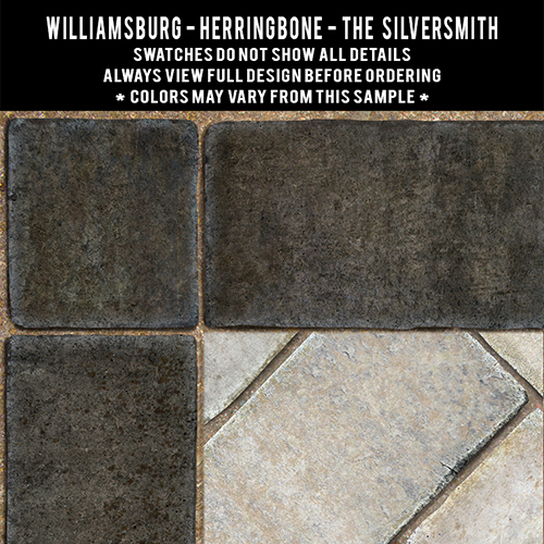 Herringbone brick: The Silversmith - vinyl floor cloth