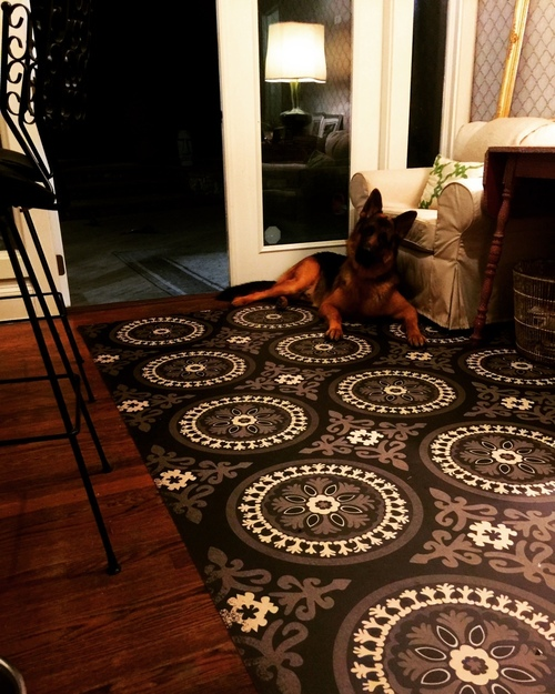 Pura Vida customer use of Karma vinyl floor cloth