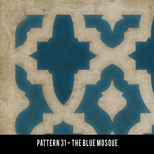 Pattern 31 blue mosque 26x106 - custom vinyl floor cloth