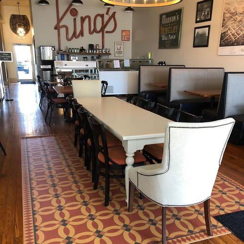 Pura Vida customer use of Persephone vinyl floor cloth in Kings Cafe.