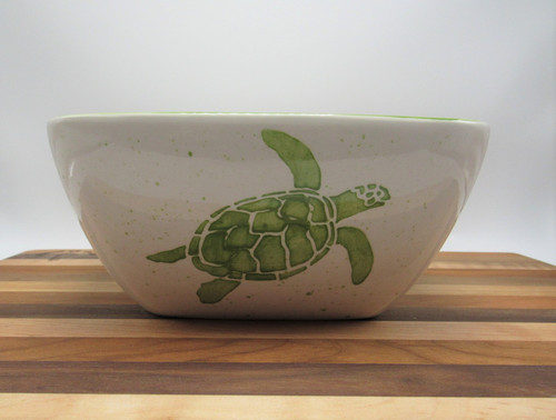 Square bowl turtle - green