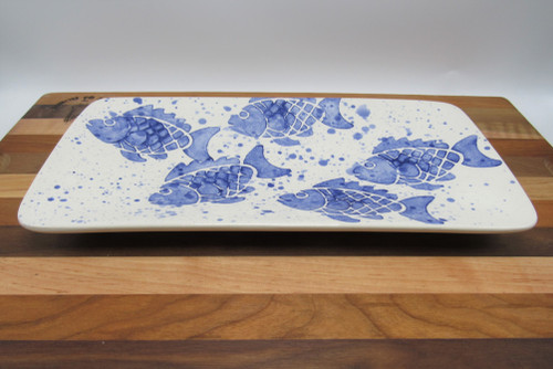 Small rectangle platter fish - blue
