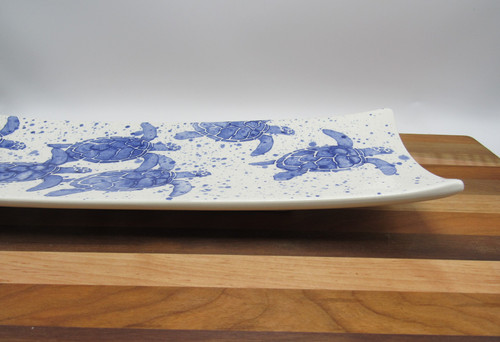Medium rectangle platter turtle - blue