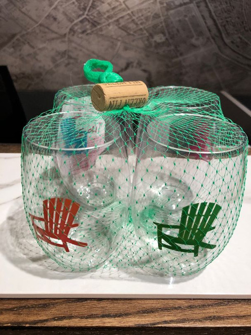 all glasses come in a set of 4 wrapped in colored netting