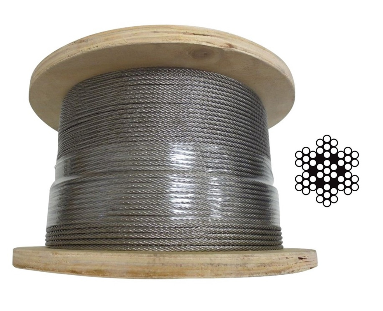 3.2mm Stainless Steel Wire Rope 7 x 7 - 305m roll