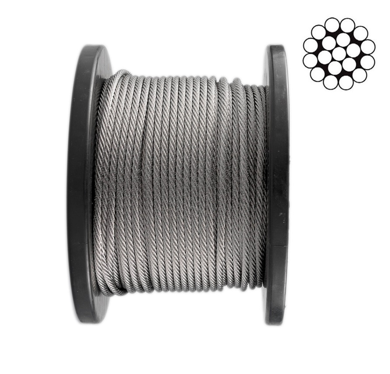 3.2mm Stainless Steel Wire Rope 1 x 19 - 100m roll