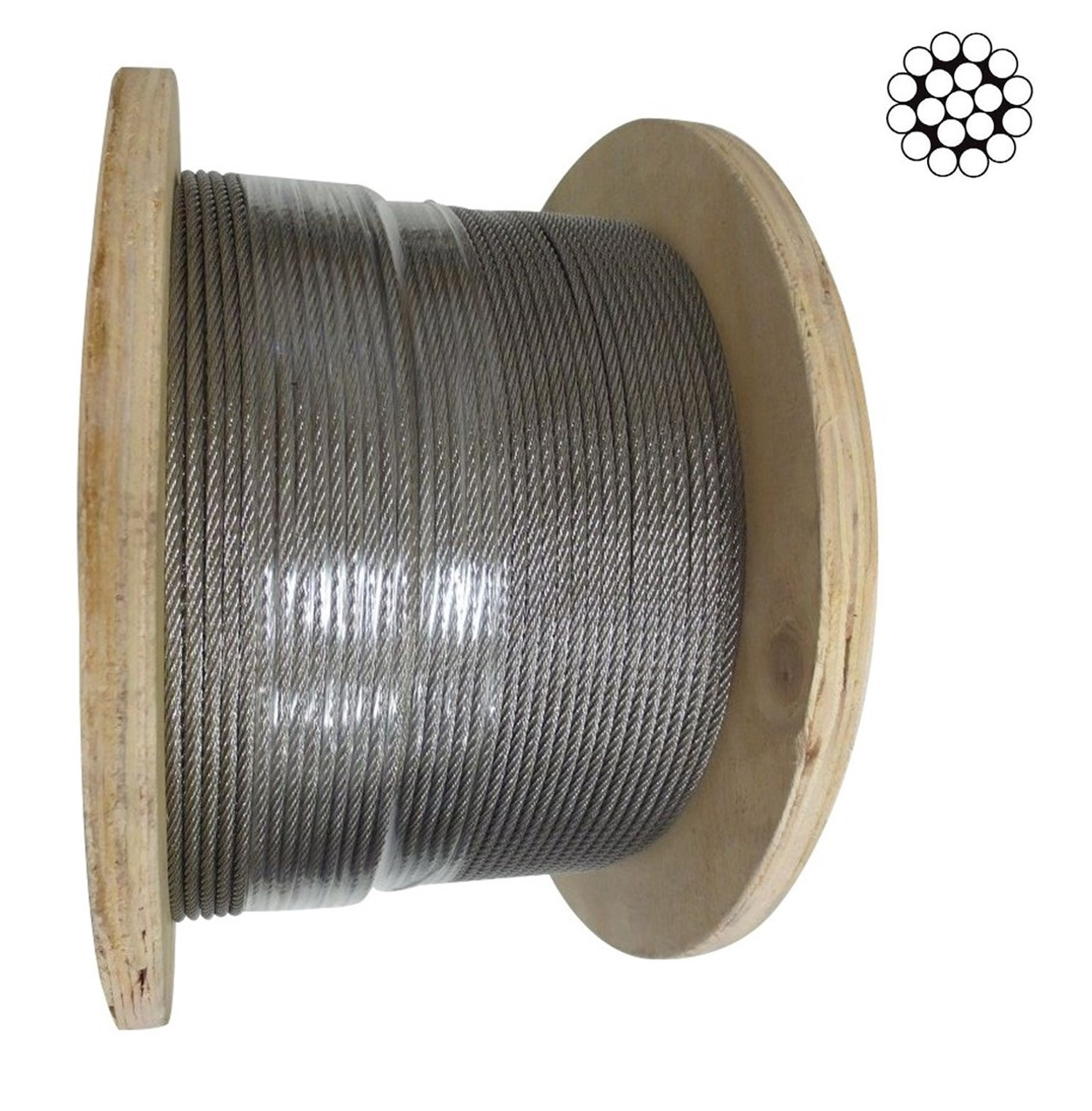 3.2mm Stainless Steel Wire Rope 1 x 19 - 200m roll
