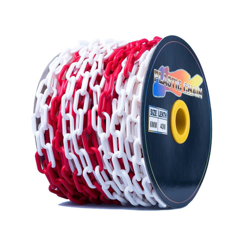 Red White Plastic Chain - 6mm x 40m roll