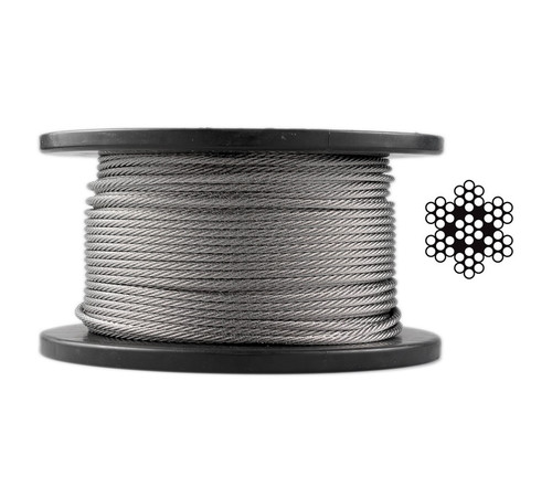 3.2mm Stainless Steel Wire Rope - 7 x 7 - 30m roll