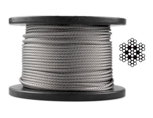 3.2mm Stainless Steel Wire Rope 7 x 7 - 50 m roll