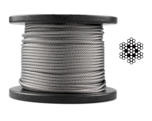 3.2mm Stainless Steel Wire Rope 7 x 7 - 100m roll