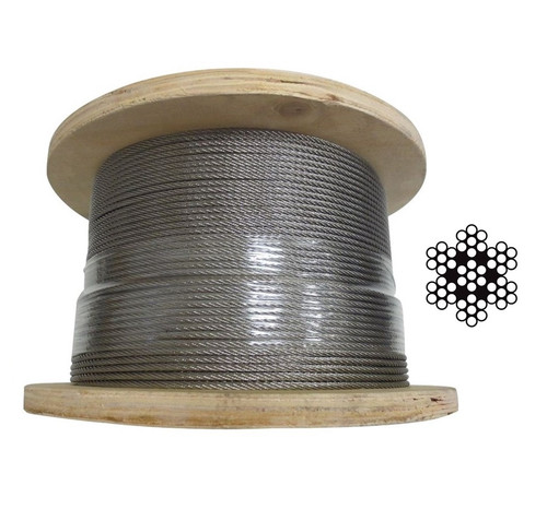 3.2mm Stainless Steel Wire Rope 7 x 7 - 200m roll