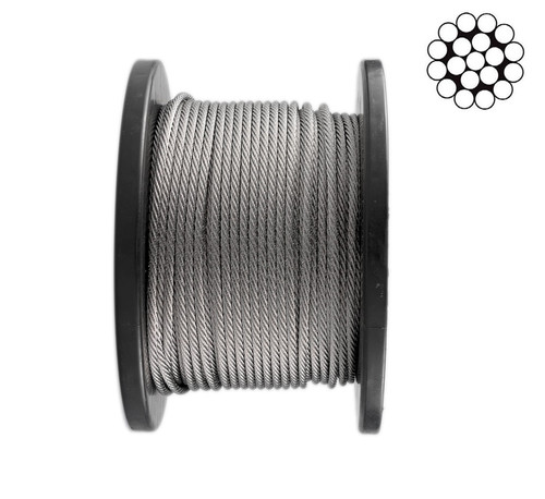 3.2mm Stainless Steel Wire Rope   1 x 19 - 50m roll