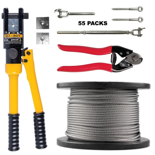 Balustrade Professional Kit (No.5) - Turnbuckles (55), Wire (305m),  Fittings, Tools