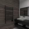 Jeeves C Straight Matte Black Heated Towel Rack 21.25 x 36.75 (CSMB)