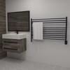 Jeeves L Straight Matte Black Heated Towel Rack 40.25 x 27.75 (LSMB)