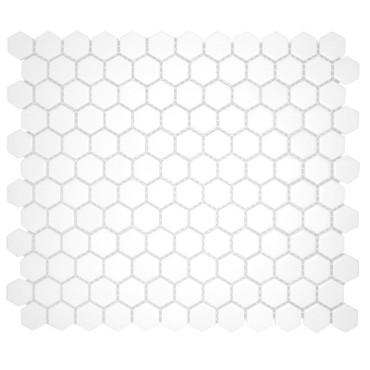 CC Mosaics - Matte Hexagon White Matte Mosaic 1x1 on 12x12 Sheet