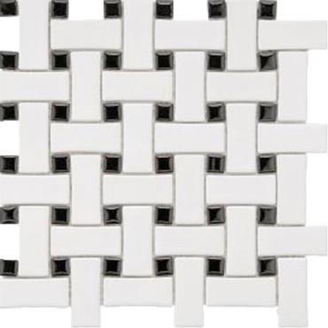 CC Mosaics - Matte White & Black Basket Weave Mosaic 12x12
