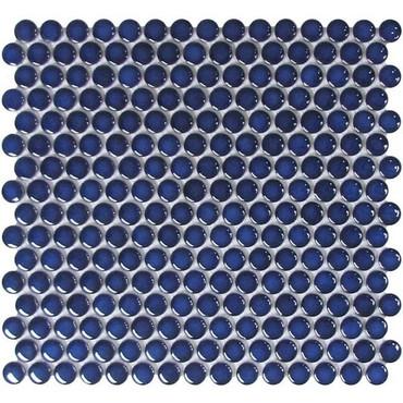CC Mosaics - Bright Penny Round Cobalt Mosaic 12x12