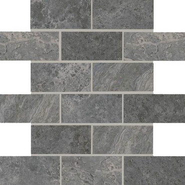 Laurel Heights Charcoal Crest 2x4 Brick Joint Mosaic