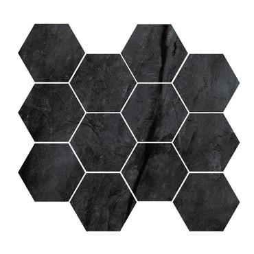 Renova Black 4x4 Hex Mosaic
