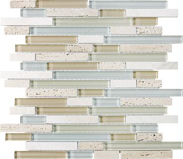Spa Glass Stone Linear Blend Mosaics