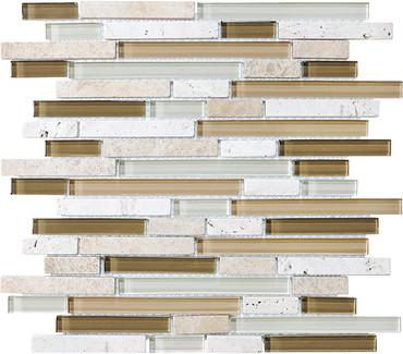 Bamboo Glass Stone Linear Blend Mosaics