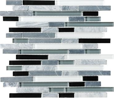 Midnight Glass Stone Linear Blend Mosaics